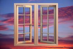 Modern plastic pvc window floating in twilight sky Stock Photography
