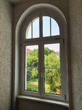 Modern plastic windows in a sophisticated design. In white stock photography