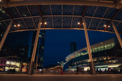 Modern Plaza by Night in the Futuristic City Royalty Free Stock Photos