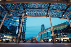 Modern Plaza by Night in the Futuristic City Royalty Free Stock Images