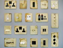 Plugs and switches. The modern plugs and switches stock image