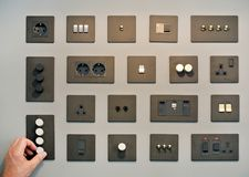 Plugs and switches. The modern plugs and switches royalty free stock photos