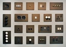 Plugs and switches. The modern plugs and switches royalty free stock image