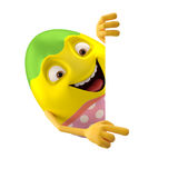 Modern pointing easter egg on white background. Happy Easter, 3D easter character, cheerful cartoon, amusing egg isolated on white background Royalty Free Stock Photo