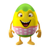 Modern pointing easter egg on white background. Happy Easter, 3D easter character, cheerful cartoon, amusing egg isolated on white background Stock Image