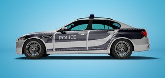 Modern police car with blue accents side view 3d render on blue background with shadow. Modern police car with blue accents side view 3d render on blue royalty free illustration