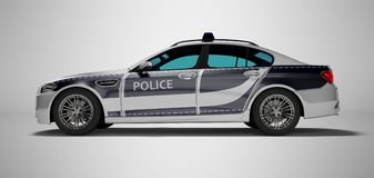 Modern police car with blue accents side view 3d render on gray background with shadow. Modern police car with blue accents side view 3d render on gray royalty free illustration