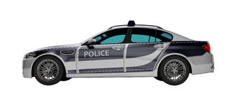 Modern police car with blue accents side view 3d render on white background no shadow. Modern police car with blue accents side view 3d render on white vector illustration