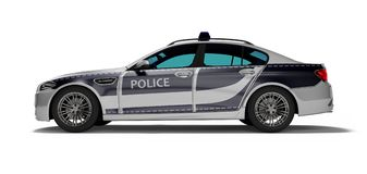 Modern police car with blue accents side view 3d render on white background with shadow. Modern police car with blue accents side view 3d render on white vector illustration