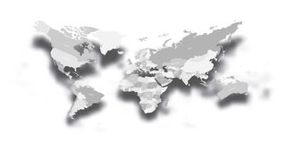Modern political map of World. Distorted design with bent corners and dropped shadow. 3D effect vector illustration