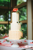 Modern Polka Dot Wedding Cake. A modern tall buttercream icing wedding cake on a white cake stand with polka dot details, a coral rose, foliage and rustic mini Royalty Free Stock Image