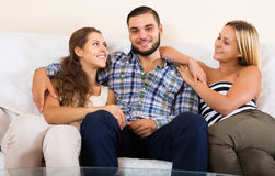Modern polygamous family Stock Image