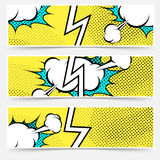 Modern pop art style divided header set. With exclamation explosion speech cloud or bubble. Vector illustration stock illustration