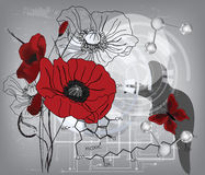 Modern poppies composition. With water molecules and chlorophyll formula - All elements are on separate layers - easily editable Stock Photo