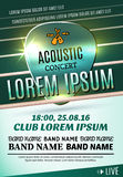 Modern poster for a acoustic concert or a rock festival Royalty Free Stock Photography
