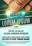 Modern poster for a acoustic concert or a rock festival Royalty Free Stock Photo
