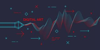 Modern poster Digital art. Abstract shapes and dynamic waves on dark background. Vector illustration royalty free illustration