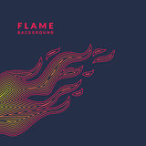 Modern poster with the flame from lines in minimalistic flat style on dark background. Vector illustration Stock Photography