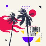 Modern poster with palm tree and geometric graphic. Best summer party. Modern poster with palm tree and geometric graphic. Vector illustration Royalty Free Stock Photo
