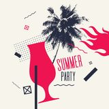 Modern poster with palm tree and geometric graphic. Best summer party. Modern poster with palm tree and geometric graphic. Vector illustration Royalty Free Stock Photography
