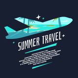 Modern poster summer journey with the silhouette of the plane and landscape royalty free illustration