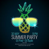 Modern poster summer party with a pineapple wearing sunglasses Stock Photography