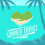 Modern poster summer travel to the island in the shape of a heart vector illustration