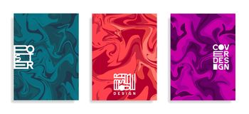 Modern poster templates. Lliquid colors. Abstract marble vector background. Cover, brochure, flyer trendy design stock illustration
