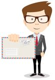 Modern postman delivered a letter to you, vector Stock Images