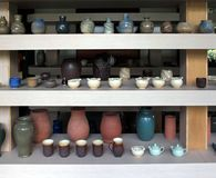 Modern Pottery Products on Display Royalty Free Stock Image