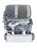 Modern powerful flagship model of BMW TwinPower turbo diesel engine. Munich, Germany - September 28, 2014: New modern powerful flagship model of efficient and royalty free stock photography