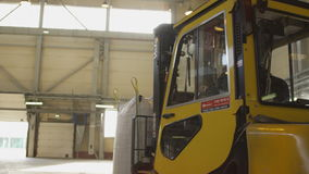 Modern Powerful Forklift Transports White Large Bag stock video footage