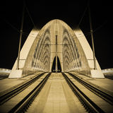 Modern prague bridge over the Vltava river. At night Royalty Free Stock Photos
