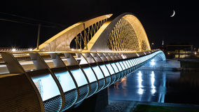 Modern prague bridge over the Vltava river. At night Royalty Free Stock Photo
