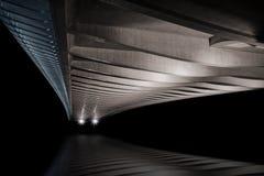 Modern prague bridge over the Vltava river. At night Royalty Free Stock Images