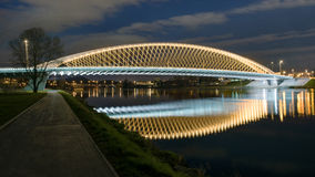 Modern prague bridge over the Vltava river. At night Stock Photography