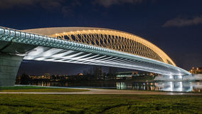 Modern prague bridge over the Vltava river. At night Royalty Free Stock Image