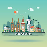Modern Prague City Skyline Design. Czech Republic. Prague landscape Royalty Free Stock Photography