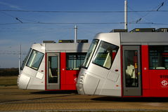 Modern Prague Trams Stock Photo