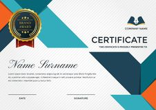 Premium Business Certificate Template With Education Symbol. Modern Premium Company Certificate Of Achievement And Appreciation Template With Logo Illustration Stock Image