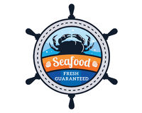 Modern Premium Seafood Restaurant Logo Badge Illustration. Premium Vintage Seafood Restaurant Logo Showing Boat Wheels And Crab Stock Images