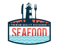 Modern Premium Seafood Restaurant Logo Badge Illustration. Premium Vintage Seafood Restaurant Logo Showing Lighthouse, Fork, And Knife Silhouette Royalty Free Stock Photography