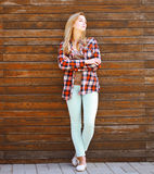 Modern pretty hipster girl in smart casual clothes Royalty Free Stock Photography
