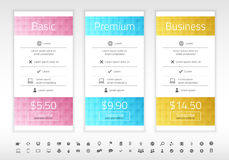 Modern pricing list with 3 options in turquoise, b Royalty Free Stock Image