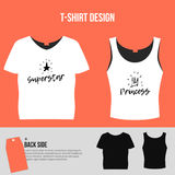 Modern print t shirt graphics for mothers and fathers. Hand crafted lettering brushed Princess and Superstar design vector illustration