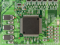 Modern printed-circuit board macro background Royalty Free Stock Photo