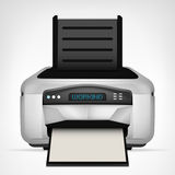 Modern printer with blank paper down object isolated Stock Photo