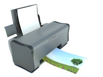 Modern Printer with Blank Paper and Printing Photo isolated on w Stock Photos