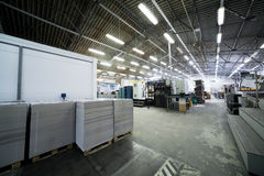 Modern printing plant. A large shop in a modern printing plant Stock Photo