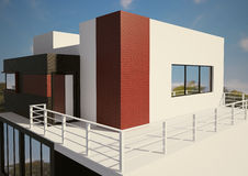 Modern private house exterior 3d. Render Stock Photo